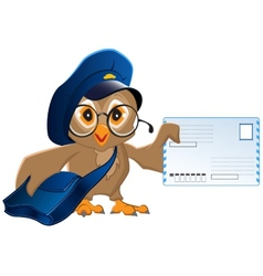 Owl postman brought a letter vector