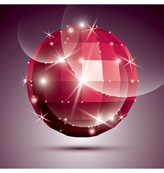 Party dimensional red sparkling disco ball created vector image
