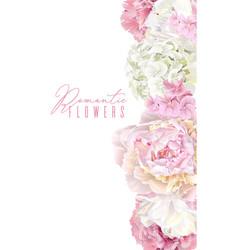 Peony pink vertical border vector