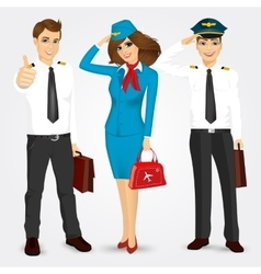 pilot and two stewardesses in uniform vector image