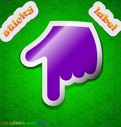 pointing hand icon sign Symbol chic colored sticky vector image