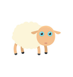 pretty sheep icon flat style vector image