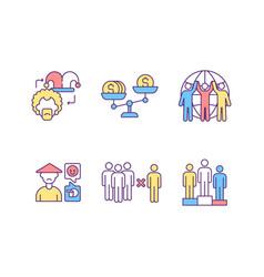 racial discrimination rgb color icons set vector image