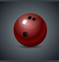 realistic bowling icon set on dark gray background vector image