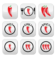Red hot chili peppers buttons set vector image