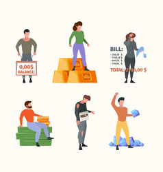 Rich and poor people successful characters vector