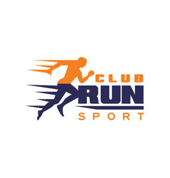 run sport club logo template emblem with running vector image