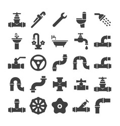Sanitary engineering valve pipe plumbing vector