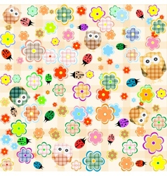 seamless flower and owl background pattern vector image
