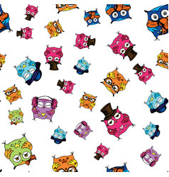 seamless pattern with cute owls hand drawing vector image
