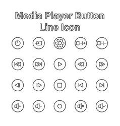 set media player line icon editable stroke vector image