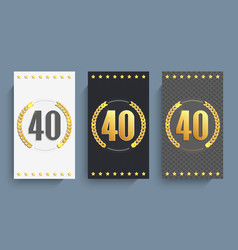 Set of 40th anniversary cards template vector