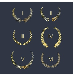 Set of golden laurel wreath vector image