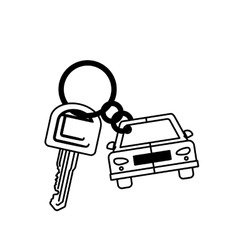 silhouette car shaped key chain icon vector image