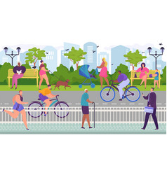 Skating cyclists in park near roadway useful vector