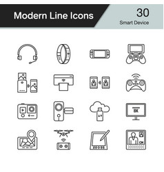 smart device icons modern line design set 30 vector image