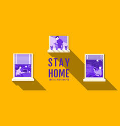Stay home social distancing stop covid-19 vector