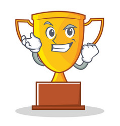 Successful trophy character cartoon style vector