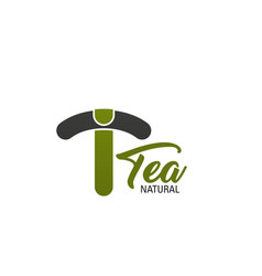 t letter icon for natural tea product vector image