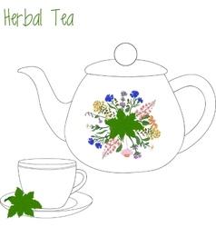 Teapot with tea cups herbal green vector