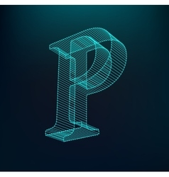 The letter P Polygonal letter Low poly model vector image