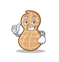 thumbs up peanut character cartoon style vector image