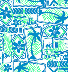 Tribal surfing palm repeat seamless pattern vector image