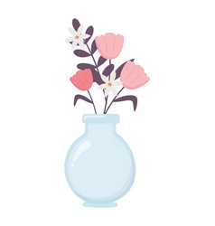 vase glass with flowers decoration ornament vector image