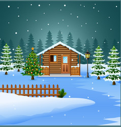 View of snowy wooden house and christmas tree deco vector