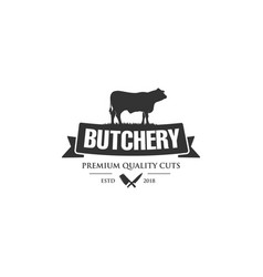 vintage logo butcher shop with picture of cow vector image
