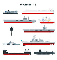 Warships different types set military boats vector