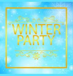 Winter party golden text image vector