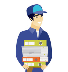 Young asian mechanic holding pile folders vector