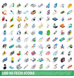 100 hi-tech icons set isometric 3d style vector image