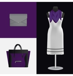 A dress on a mannequin bag and clutch vector image