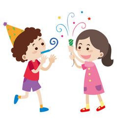 boy and girl at party vector image
