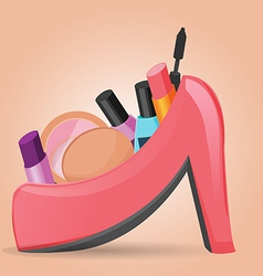 Cosmetics set woman shoe vector image