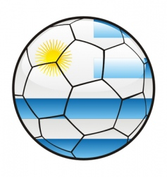 flag of Uruguay on soccer ball vector image vector image