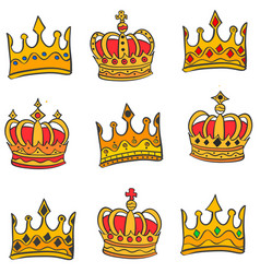 Style gold crown doodle set collection vector