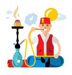 turkish man with hookah flat style vector image