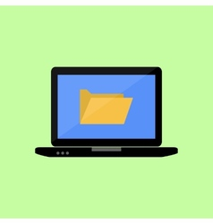 Flat style laptop with folder vector image vector image