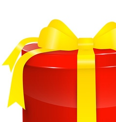 Gift Box - Red Present Box with Gold - Yellow vector image vector image