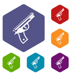 gun icons set vector image