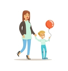 Mom And Son Walking Outdoors Loving Mother vector image