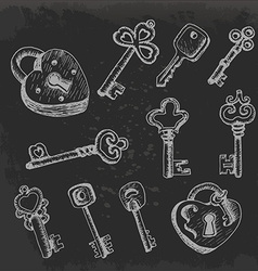 Set of isolated keys in sketch style on dark vector image vector image