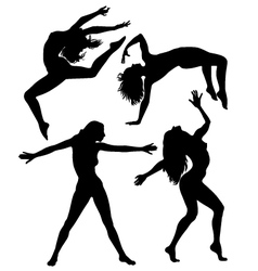 silhouettes girls vector image