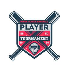 baseball minor league vintage label vector image