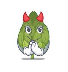 devil artichoke mascot cartoon style vector image
