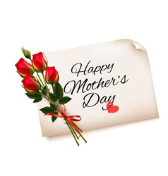 Happy Mothers Day note with red roses background vector image