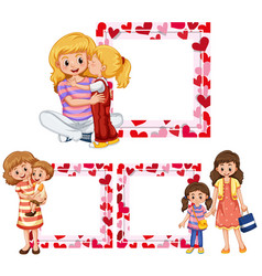 heart frame templates with mother and kids vector image